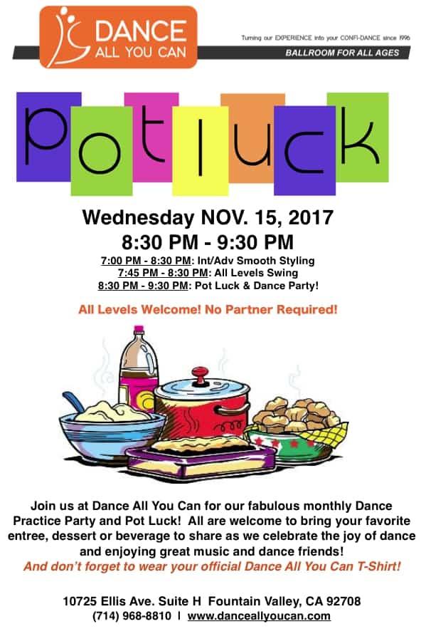 Dance All You Can, Pot Luck dance party, November 2017, ballroom dancing, orange county, huntington beach, fountain valley, California
