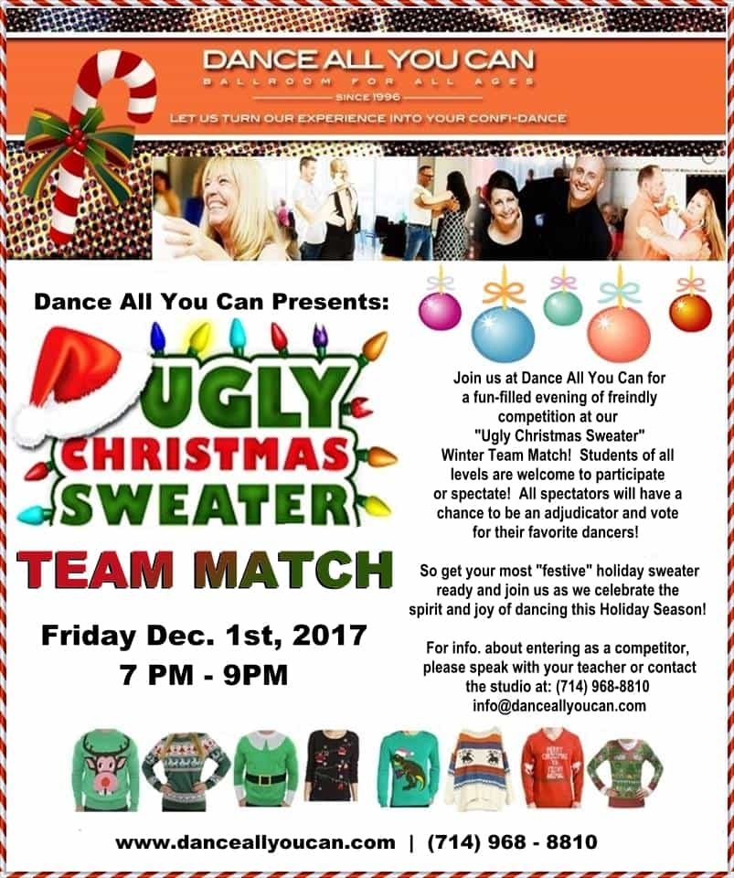 Dance All You Can, TEAM MATCH, Ugly Holiday Sweater, December 2017, Orange County Dance Studio